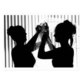 El velo ajusta la imagen del boda de la fotografía tarjeta postal