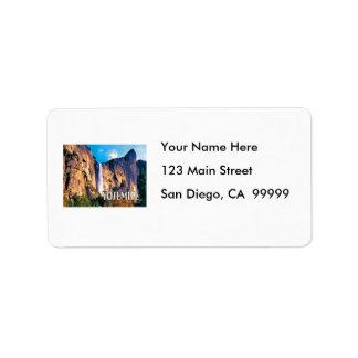 El velo nupcial baja parque nacional de Yosemite Etiquetas De Dirección