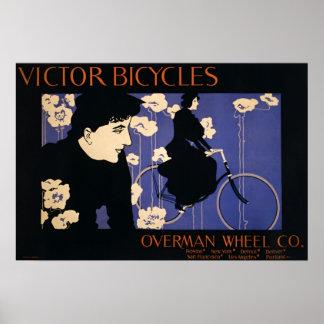 El vencedor monta en bicicleta la rueda Co. del ca Posters