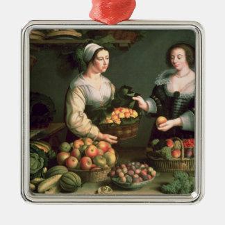 El vendedor de la fruta y verdura adorno cuadrado plateado