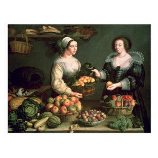 El vendedor de la fruta y verdura postales