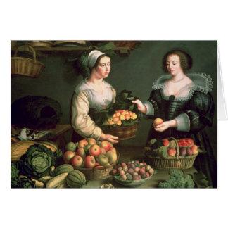 El vendedor de la fruta y verdura tarjeta de felicitación