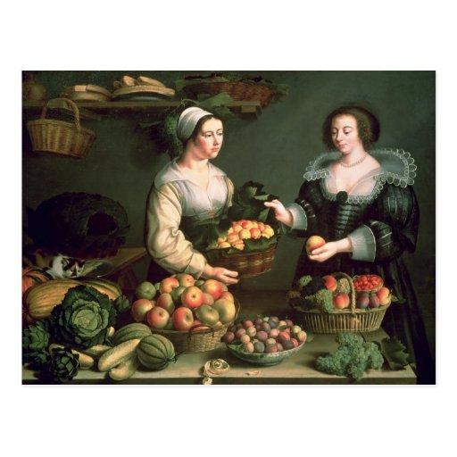 El vendedor de la fruta y verdura tarjeta postal