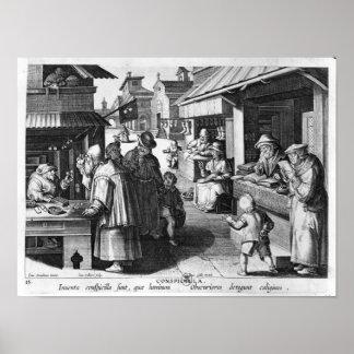 El vendedor de las gafas en enero Collaert grabad Poster