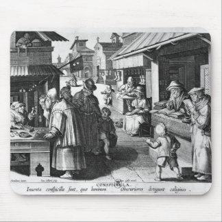 El vendedor de las gafas en enero Collaert grabad Alfombrillas De Raton