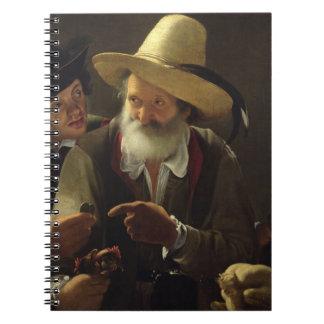 El vendedor del pájaro (aceite en lona) libreta espiral