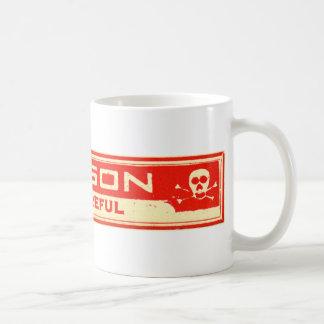 El veneno del vintage sea etiqueta cuidadosa taza de café