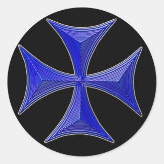 el ver 01 knights la cruz templar - fondo negro etiqueta redonda