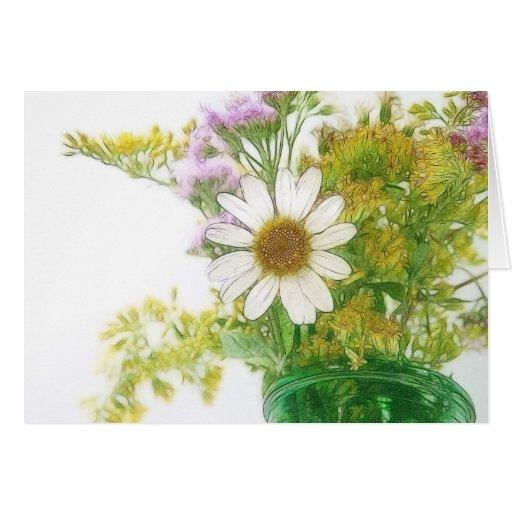 El verano florece el ramo tarjeta de felicitación