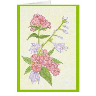 El verano florece la tarjeta en blanco