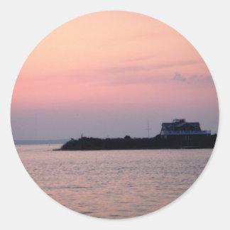 El verano pasado puesta del sol pegatina redonda