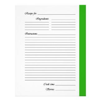 """El verde 2 echó a un lado las páginas de la receta folleto 8.5"""" x 11"""""""