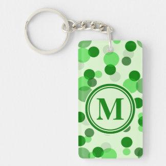 El verde adaptable mancha el monograma llavero rectangular acrílico a doble cara
