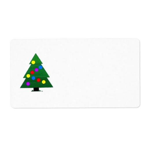 El verde adornó el árbol de navidad etiquetas de envío