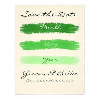 """El verde ahorró la fecha invitación 4.25"""" x 5.5"""""""