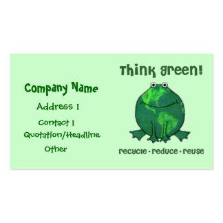 El verde ambiental recicla la tarjeta de visita de