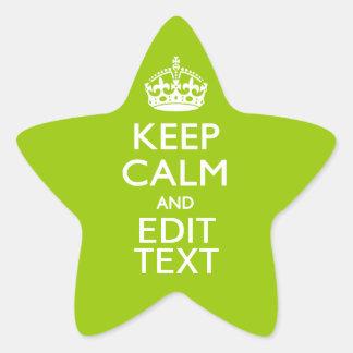 El verde androide guarda calma para tener su texto pegatina en forma de estrella