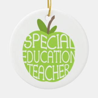 El verde Apple del profesor de la educación Adorno Navideño Redondo De Cerámica