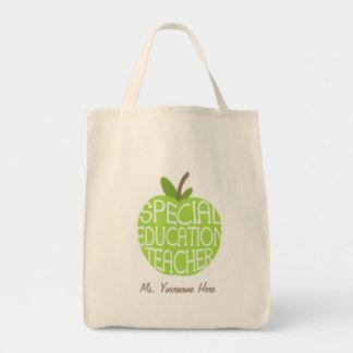 El verde Apple del profesor de la educación especi Bolsa Tela Para La Compra