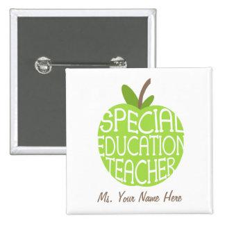 El verde Apple del profesor de la educación especi Pin Cuadrada 5 Cm