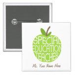 El verde Apple del profesor de la educación especi Pin Cuadrado