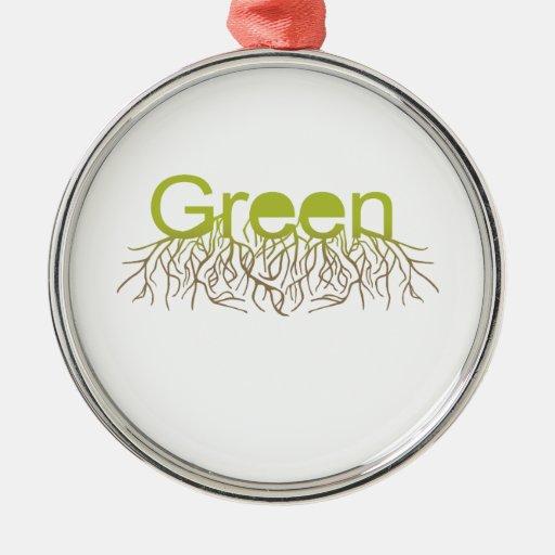 El verde arraiga verde adorno redondo plateado