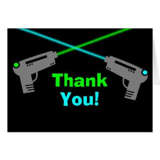 El verde azul de la etiqueta del laser le agradece tarjeta pequeña