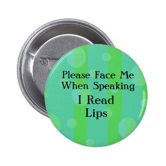 El verde azul leyó el botón de los labios pin redondo de 2 pulgadas
