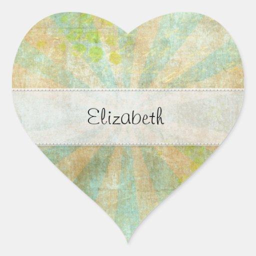 El verde azul se descoloró vitela cosida pegatina en forma de corazón
