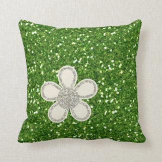 El verde brilla almohada