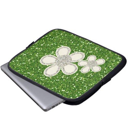 El verde brilla bolso del ordenador portátil manga portátil