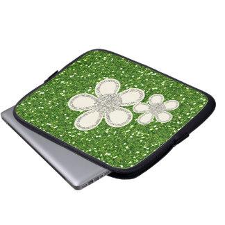 El verde brilla bolso del ordenador portátil funda para portátil