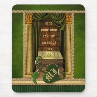El verde clásico hermoso de los libros viejos de l mousepad