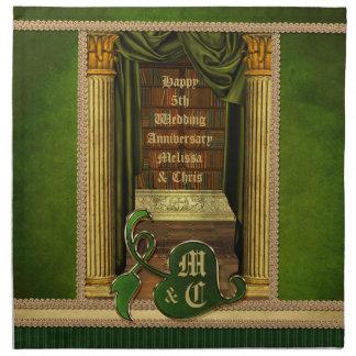 El verde clásico hermoso de los libros viejos de l servilletas