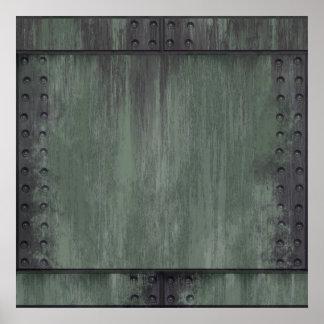 El verde clavó la textura de acero impresiones