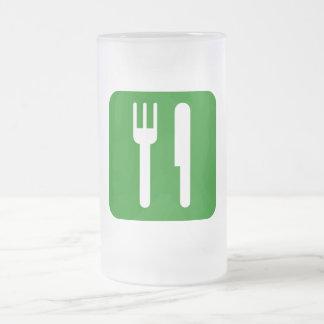 El verde come la bebida y sea feliz icono jarra de cerveza esmerilada