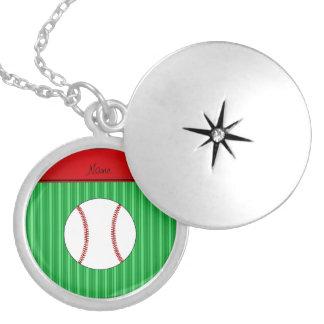 El verde conocido personalizado raya béisbol pendientes