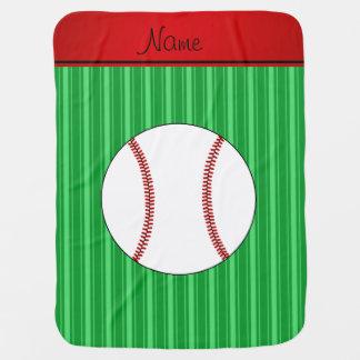 El verde conocido personalizado raya béisbol manta de bebé