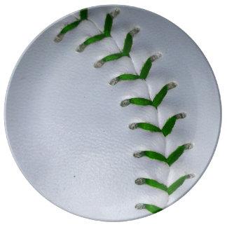 El verde cose béisbol/softball plato de cerámica