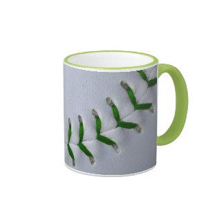 El verde cose béisbol/softball taza a dos colores