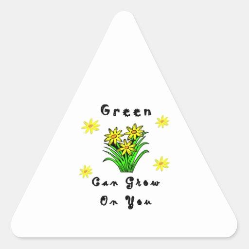 El verde crece en usted calcomania de triangulo personalizadas