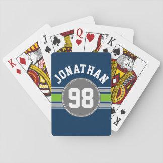 El verde de azules marinos se divierte el número cartas de póquer