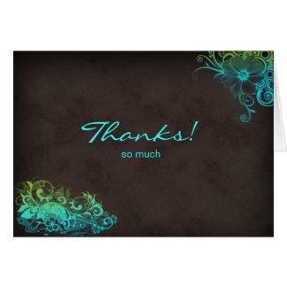El verde de azules turquesas le agradece tarjeta d