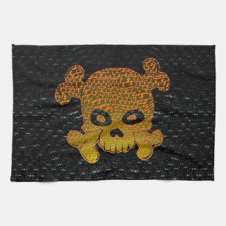 El verde de encargo de la bandera de pirata se des toalla de cocina