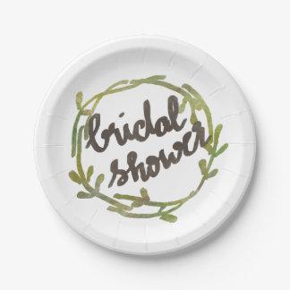 El verde de la acuarela de la caída deja el boda platos de papel