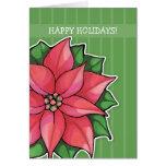 El verde de la alegría del Poinsettia raya la tarj Felicitaciones