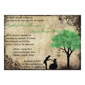 El verde de la invitación del boda del vintage de