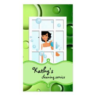 El verde de la tarjeta de visita de la limpieza bu