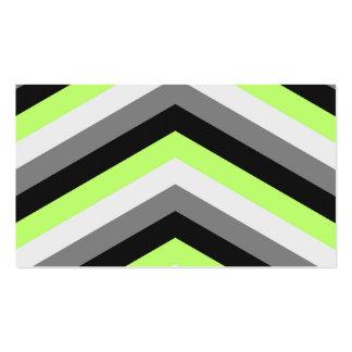 El verde de neón sombrea el modelo de zigzag tarjetas de visita