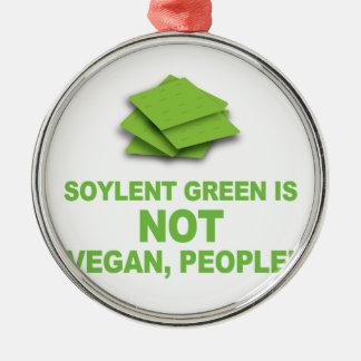 ¡El verde de Soylent no es vegano, gente! Adorno Navideño Redondo De Metal